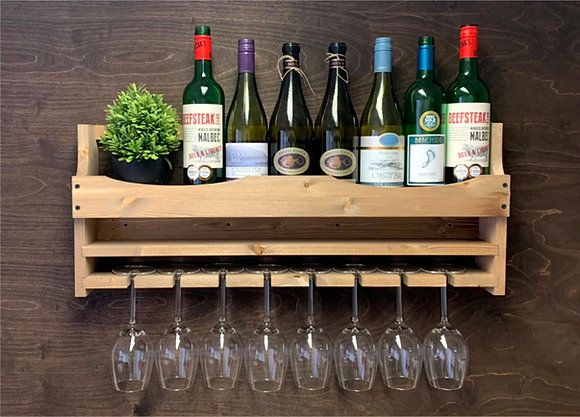 Wine Bottle and 8 Glass Wall Display