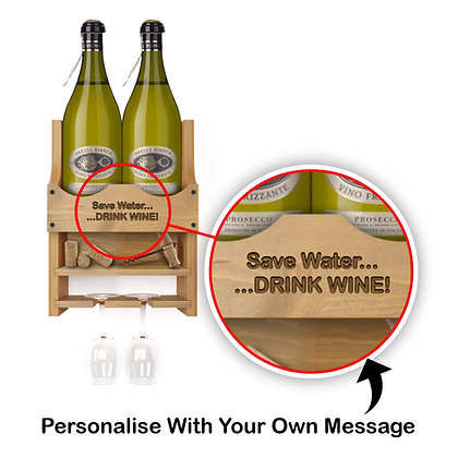 Personalised Wine Bottle and 2 Glass Wall Display