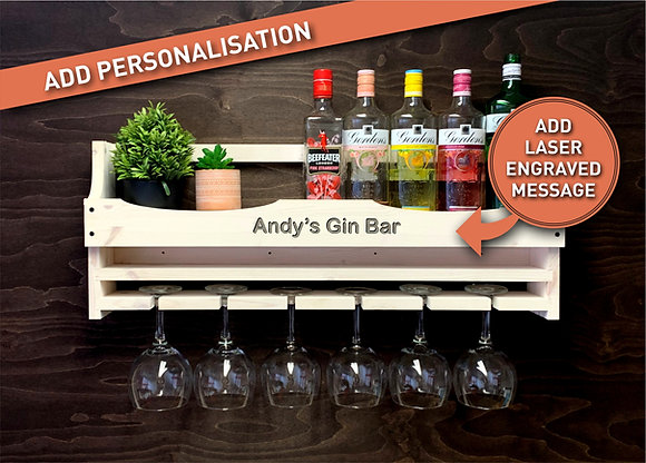 Personalised Gin Bottle and 6 Balloon Glass Wall Display