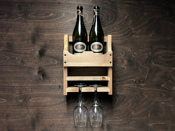 Wine Bottle and 2 Glass Wall Display