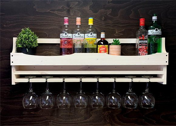 Gin Bottle and 8 Balloon Glass Wall Display