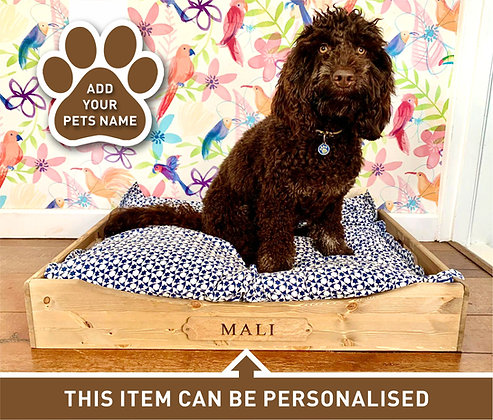 Personalised Wooden Dog Bed - Large