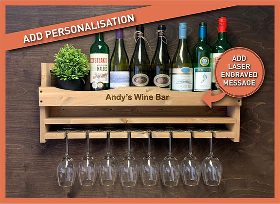 Personalised Wine Bottle and 8 Glass Wall Display