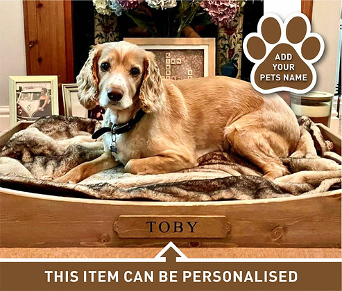 Personalised Wooden Dog Bed - Extra Large