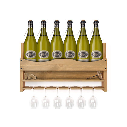 Wine Bottle and 6 Glass Wall Display