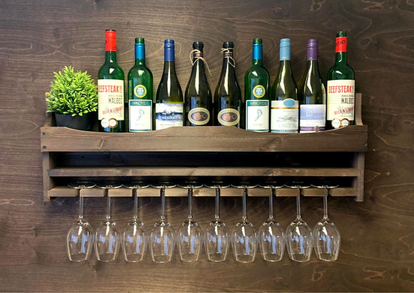Wine Bottle 10 Glass Wall Display
