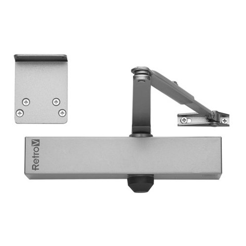 Union Adjustable Size 3-4 Overhead Silver Door Closer DCL0033