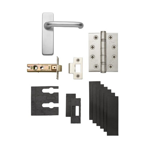 Aluminium Roundbar Backplate Handle Fire Rated Latch Pack LAL1320