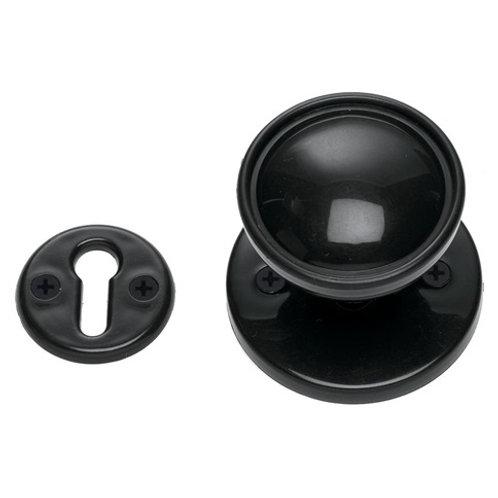 Mortice/Rim Knob Set 56mm Black Plastic DFU0064