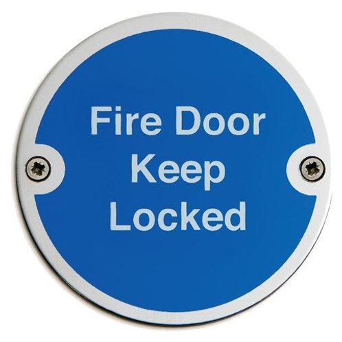 Fire Door Keep Locked Door Sign 75mm