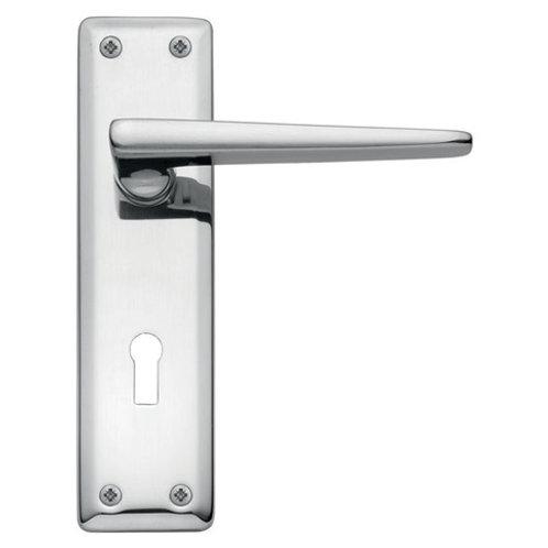 Lugano Polished Chrome Backplate Lock Handle DFU0904