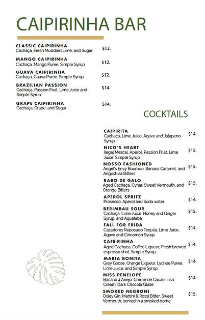 Berimbau Restaurant Drink Menu
