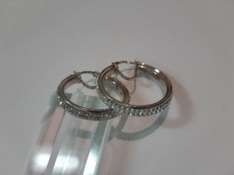 Silver Two Row Crystal Hoop Earrings