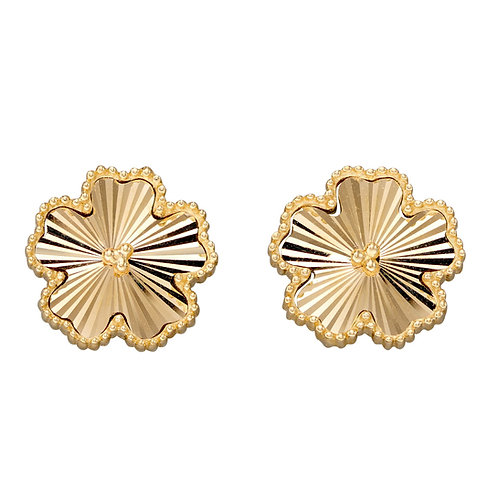 9ct gold diamond cut flower studs