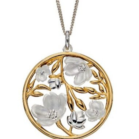 Two colour cherry blossom flower pendant andchain