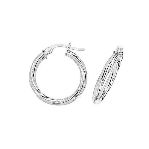 9ct White Gold 15mm Hoop Earrings