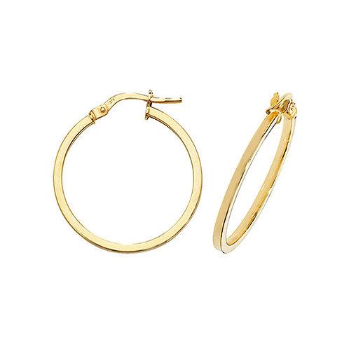 9ct Yellow Gold 20mm Hoop Earrings