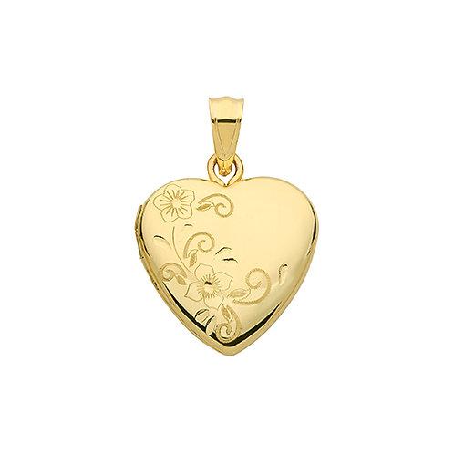 9ct gold engraved heart locket