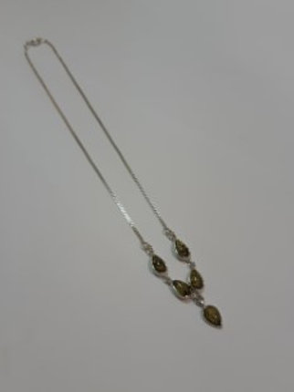 Silver Green Amber Drop Necklace