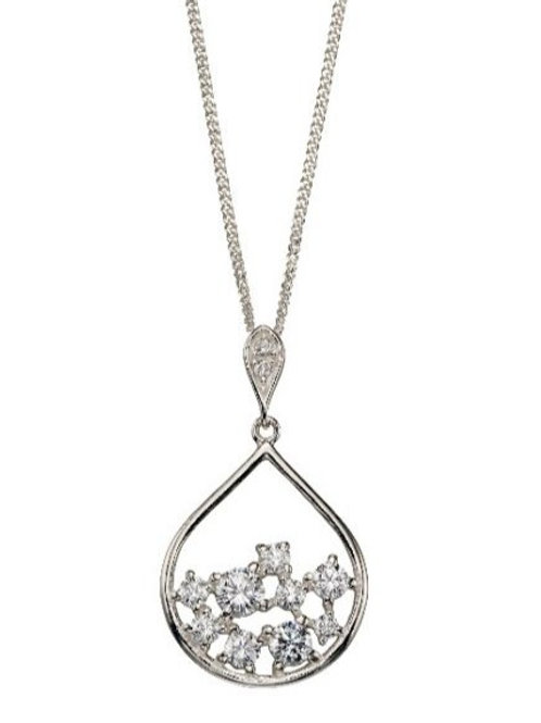 Silver pear-shaped pendant with scattered CZ's.