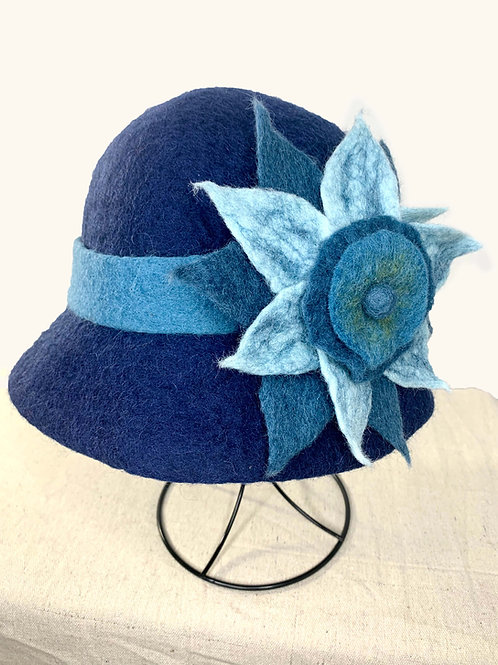 Blue Hat with Blue Flower (Hat D)