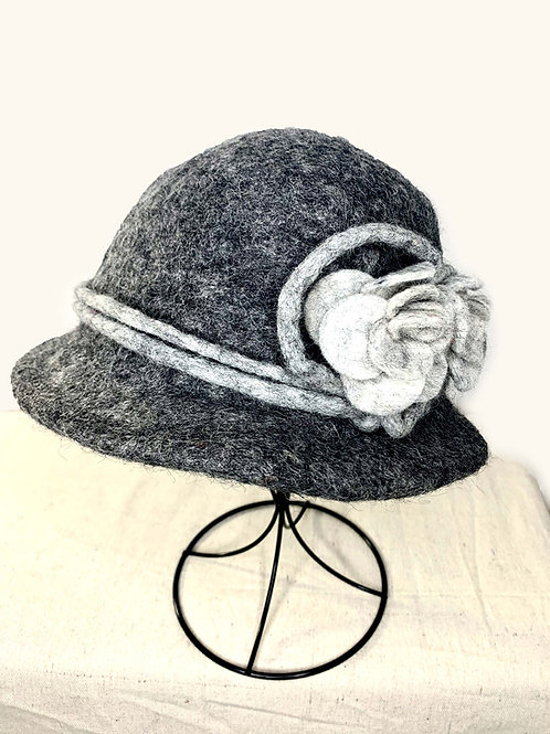 Charcoal Hat with Light Gray Flower (Hat G)