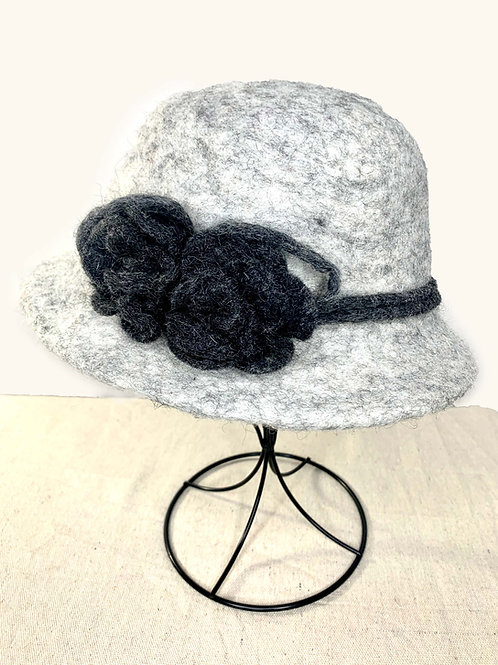 Light Gray Hat with Charcoal Flower (Hat H)