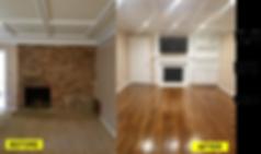 Home Remodel, Refinish WOod Floors, Built-In Bookshelves, Fie Place Mantles