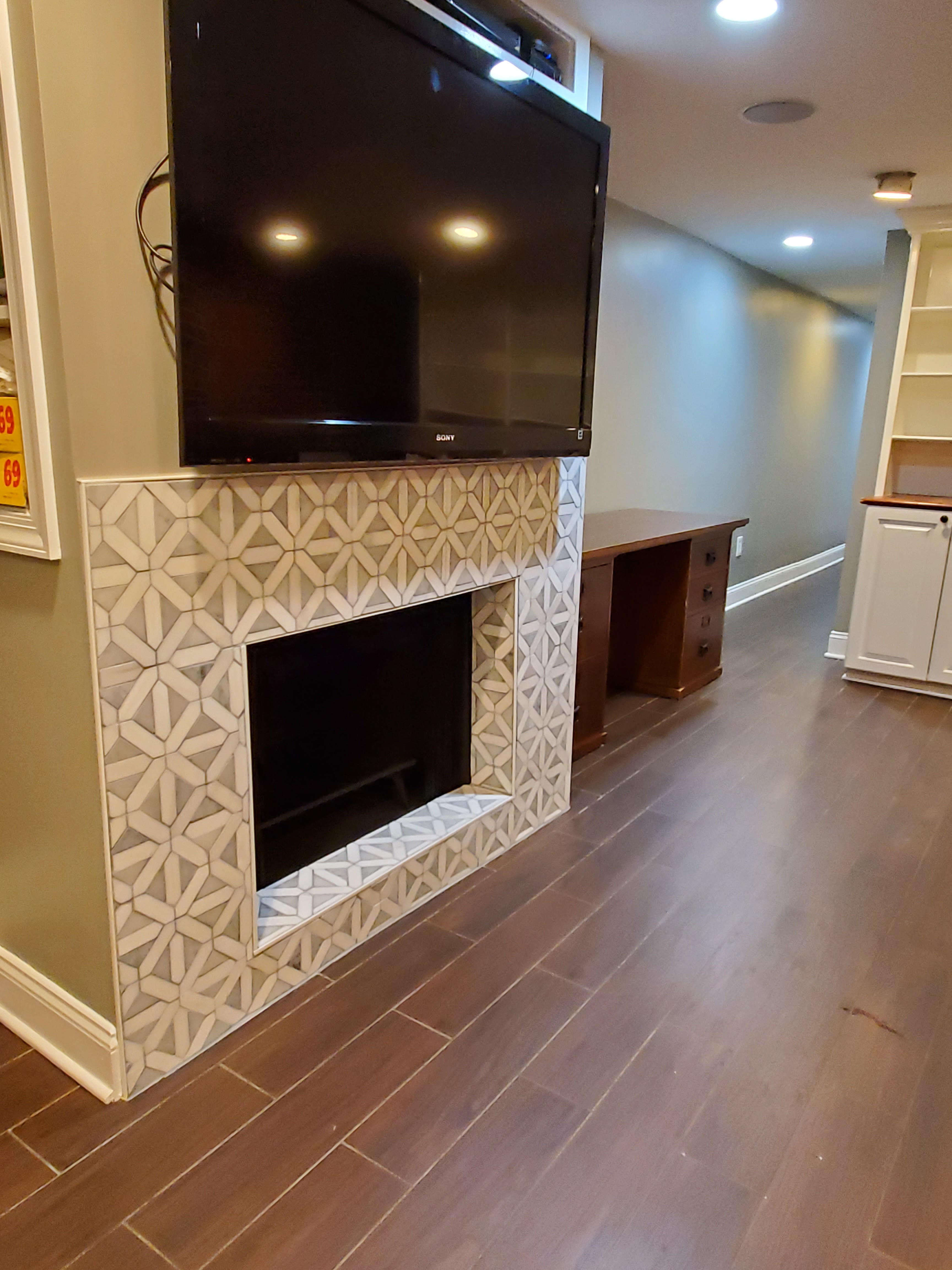fireplace tiled and floors