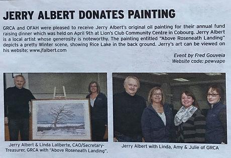Jerry Albert (J.F. Albert) Donates Painting