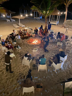 A beach wedding bonfire