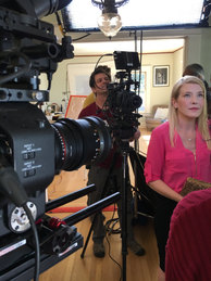 """Corinne on set in """"A One Sided Affair""""."""
