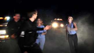"""Corinne as nurse manager Jessica in """"Fire on the Ridge""""."""