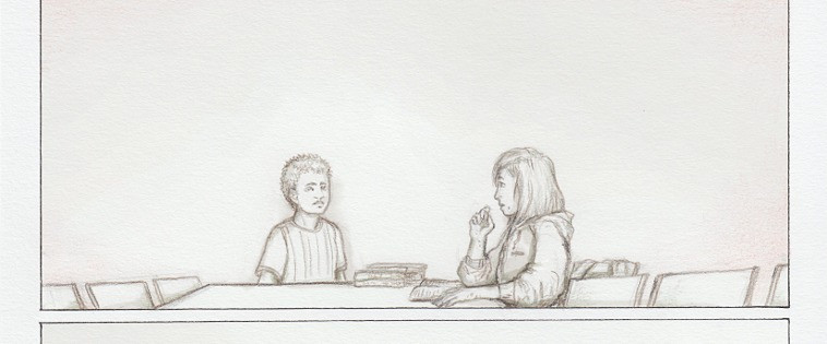 cropped panel of Nora and Alex's meeting from the comic.