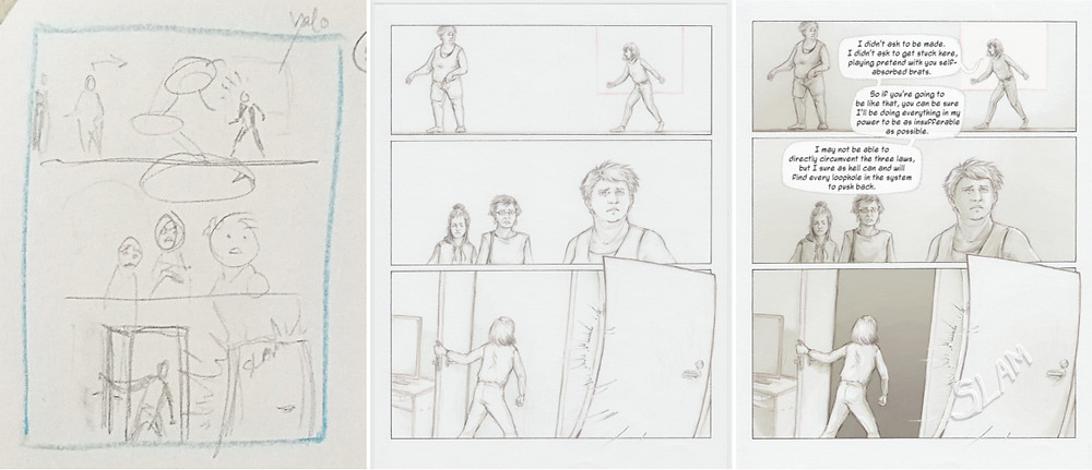 Step-by-step comparison of thumbnail/storyboard, sketched and lined page, and final page with toning, and text..