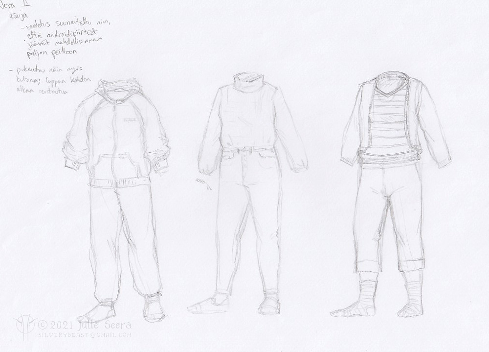 Concept art sketches of outfit designs for the main character of Not Nora.