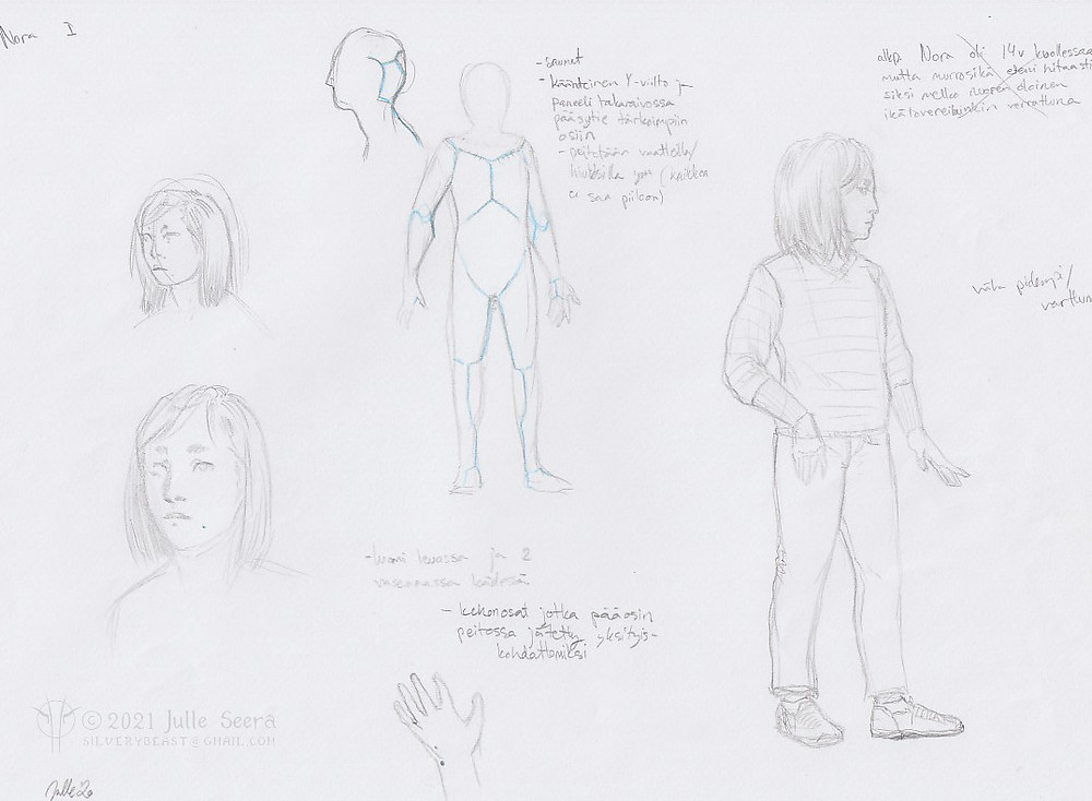 Concept art sketches and character design notes of the main character of Not Nora.