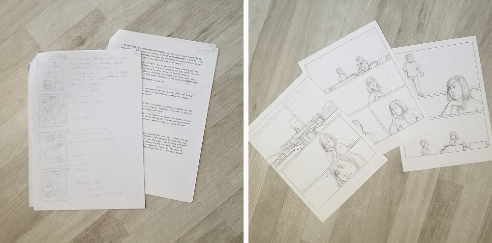 picture 1: storyboard and printed out script, with notes written on both. picture 2: in progress comic pages from a scene, before scanning and digital work.