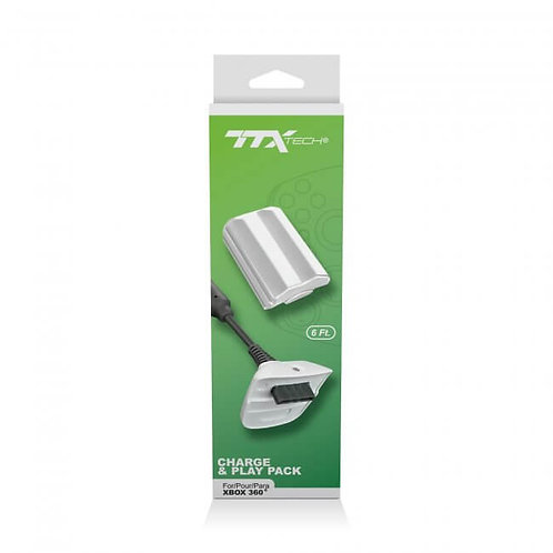 Bateria y Cable de Carga para Control Xbox 360 TTX Tech Blanco