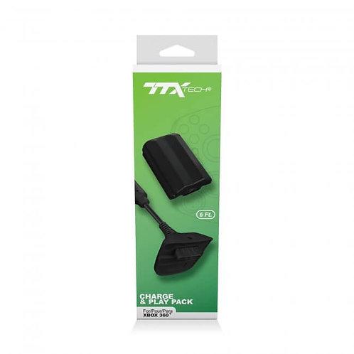 Bateria y Cable de Carga para Control Xbox 360 TTX Tech Negro