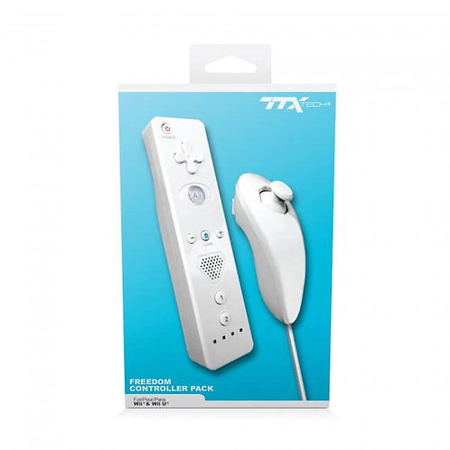 Paquete Nunchuk & Freedom Remote Control con Action Plus Blanco TTX Tech
