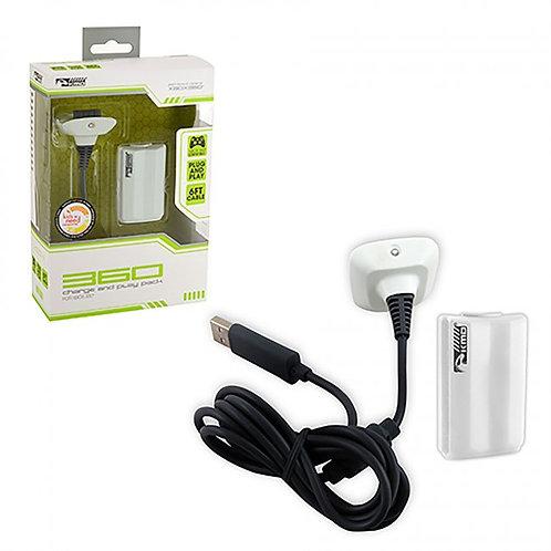 Bateria y Cable de Carga para Control Xbox 360 KMD Blanco
