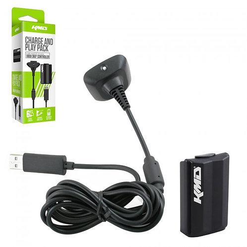 Bateria y Cable de Carga para Control Xbox 360 KMD Negro