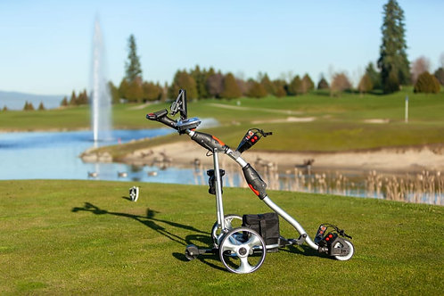Silver with Blue Trim Electric Golf Cart
