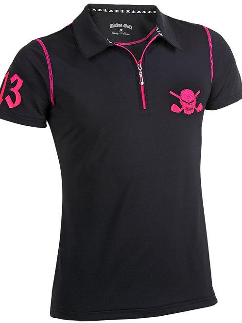 Ladies Hybrid Zipper Cool-Stretch Golf Shirt (Black/Pink) Sold at Grip On Golf Windsor