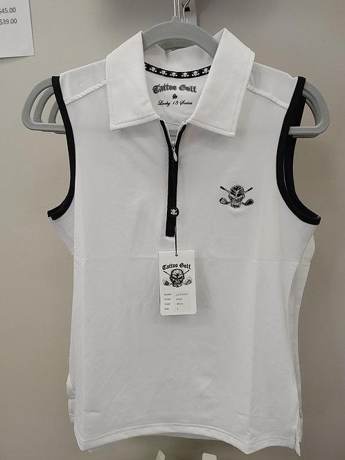 Ladies Tattoo Sleeveless White Golf Shirt
