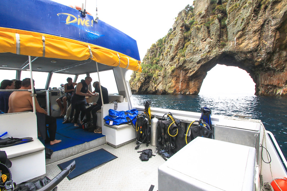 Anchored up at our second dive site, Middle Arch