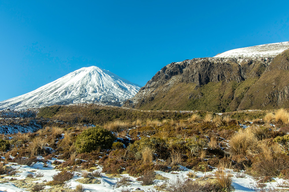 A snow cloaked Mount Ngauruhoe