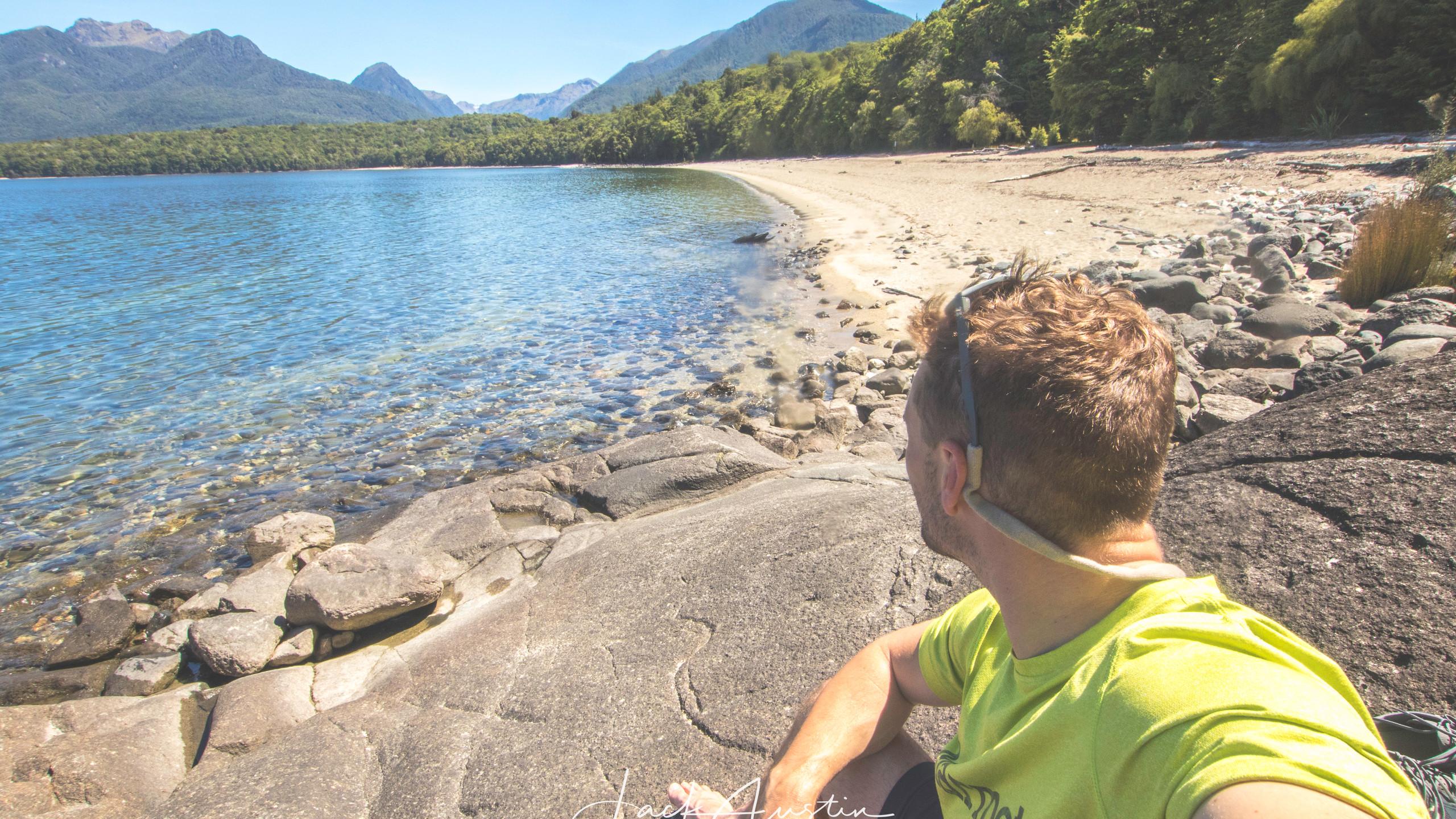 Enjoying the view of Lake Manapouri