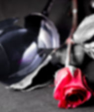 Fallen rose with a broken wine glass.jpg Rose is red and background is black and white.jpg